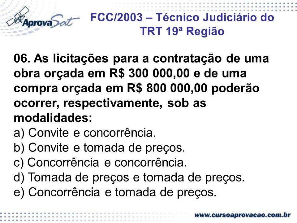 FCC/2003 – Técnico Judiciário do TRT 19ª Região