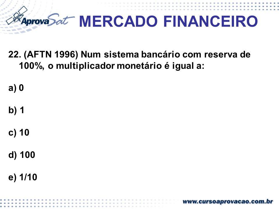 MERCADO FINANCEIRO22. (AFTN 1996) Num sistema bancário com reserva de 100%, o multiplicador monetário é igual a: