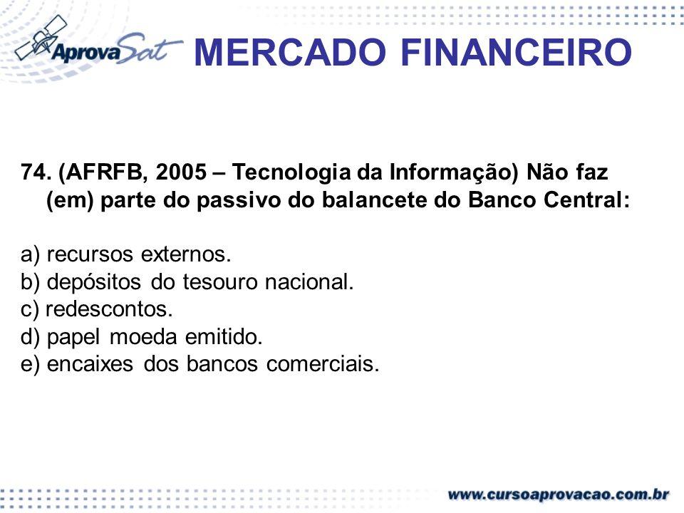 MERCADO FINANCEIRO74. (AFRFB, 2005 – Tecnologia da Informação) Não faz (em) parte do passivo do balancete do Banco Central: