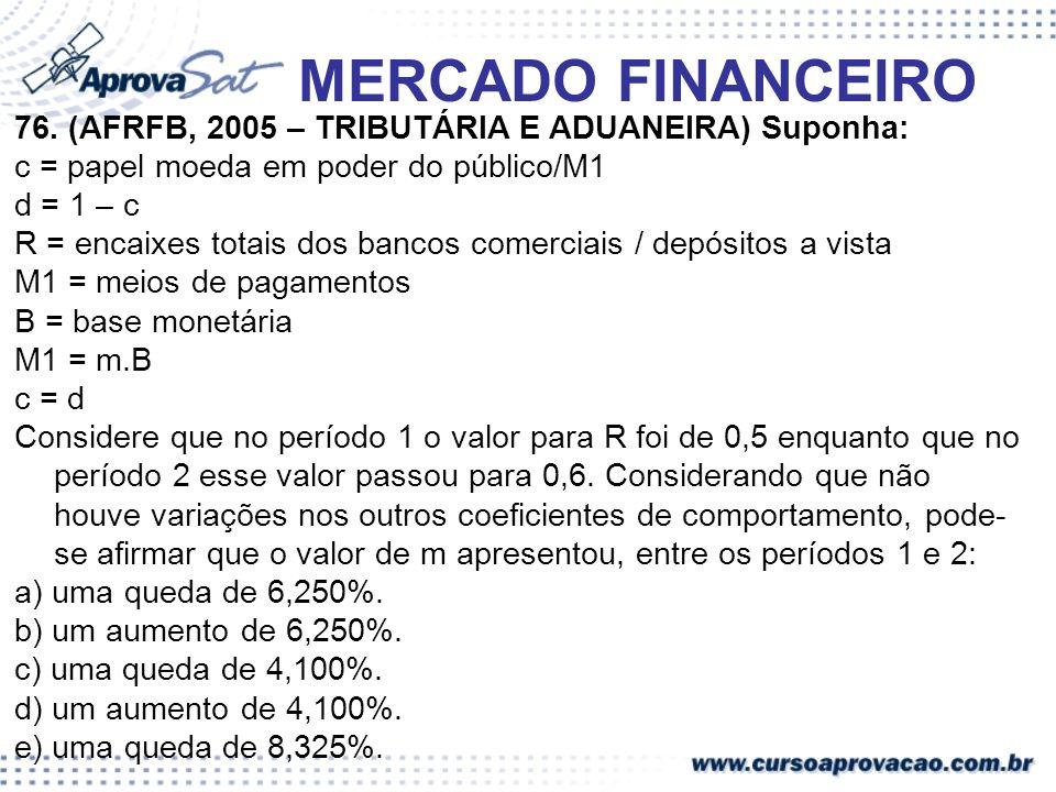 MERCADO FINANCEIRO 76. (AFRFB, 2005 – TRIBUTÁRIA E ADUANEIRA) Suponha: