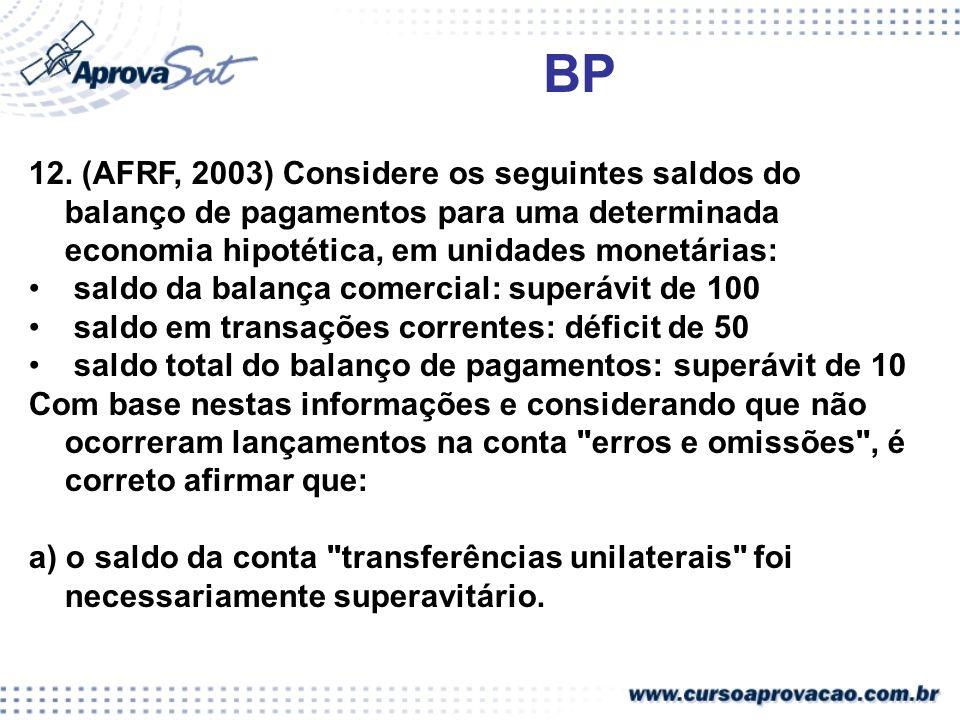 BP 12. (AFRF, 2003) Considere os seguintes saldos do balanço de pagamentos para uma determinada economia hipotética, em unidades monetárias: