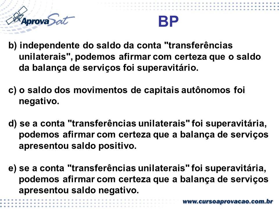 BP b) independente do saldo da conta transferências unilaterais , podemos afirmar com certeza que o saldo da balança de serviços foi superavitário.
