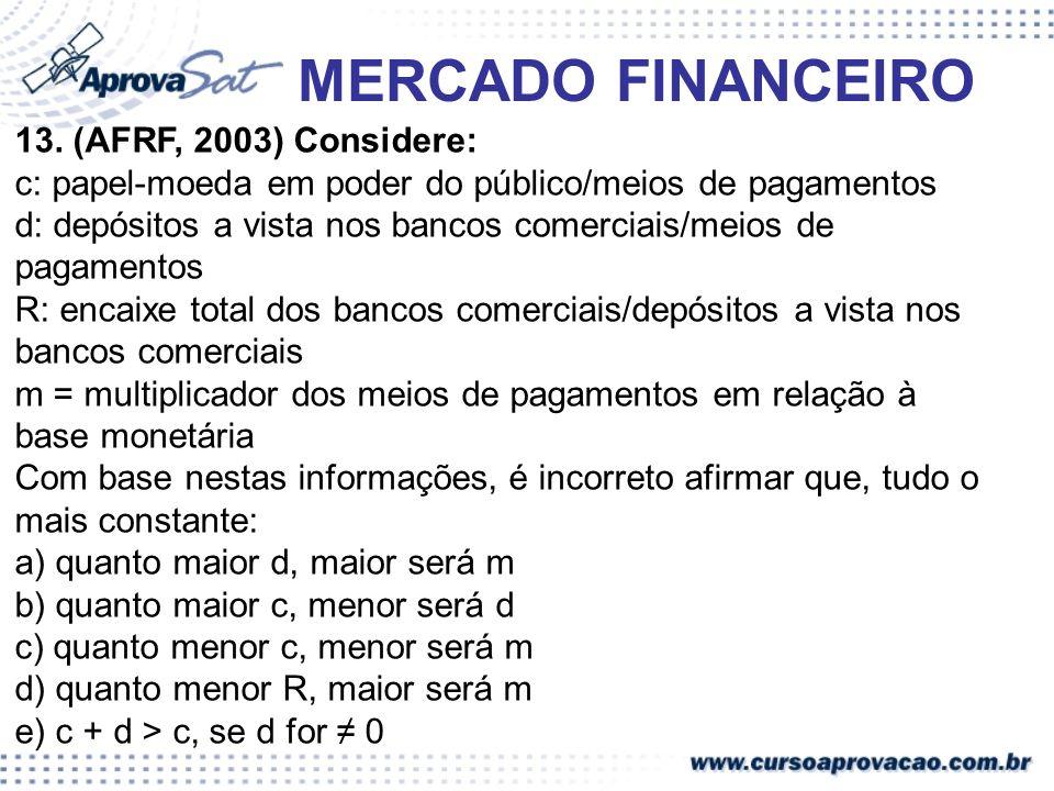 MERCADO FINANCEIRO 13. (AFRF, 2003) Considere: