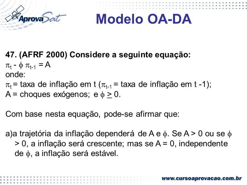 Modelo OA-DA 47. (AFRF 2000) Considere a seguinte equação: