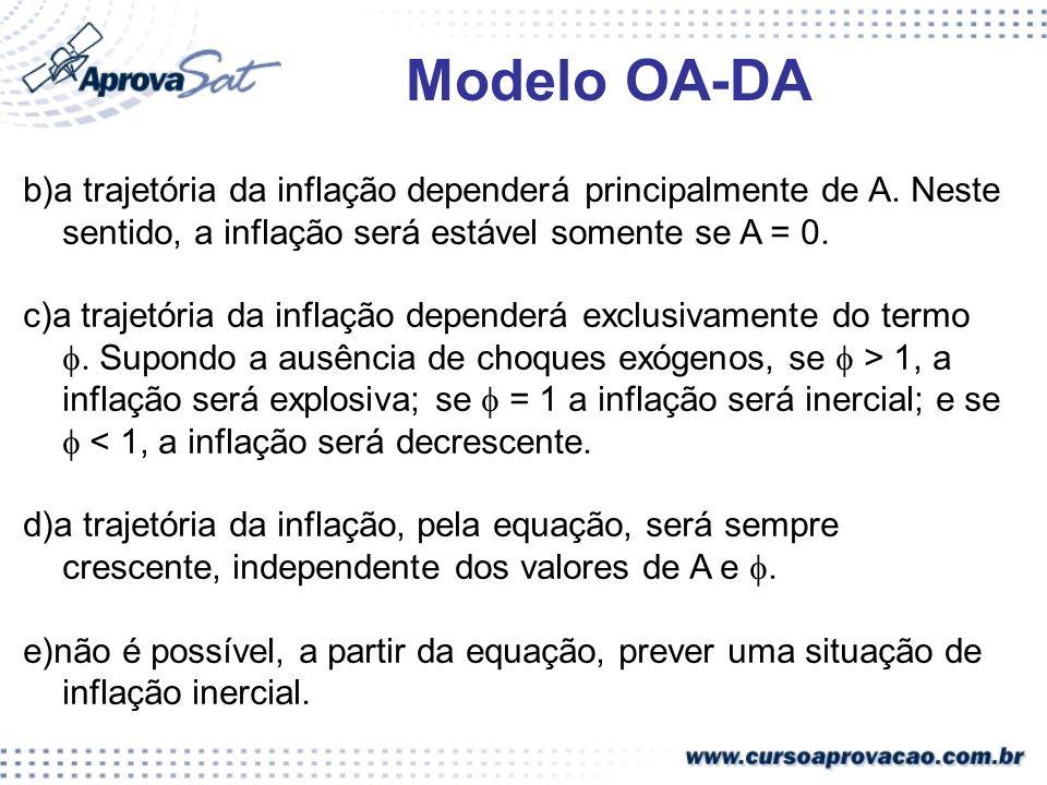 Modelo OA-DA b)a trajetória da inflação dependerá principalmente de A. Neste sentido, a inflação será estável somente se A = 0.