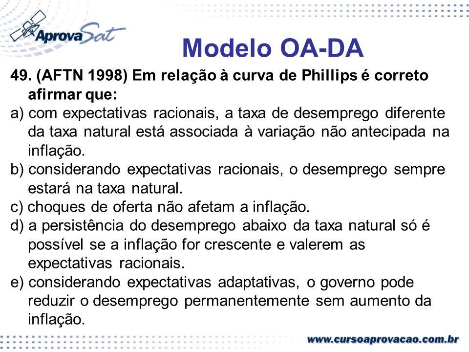 Modelo OA-DA49. (AFTN 1998) Em relação à curva de Phillips é correto afirmar que: