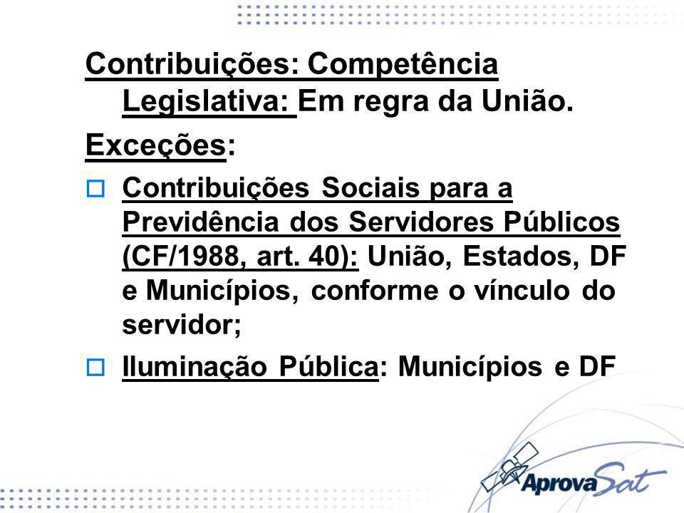 Contribuições: Competência Legislativa: Em regra da União. Exceções: