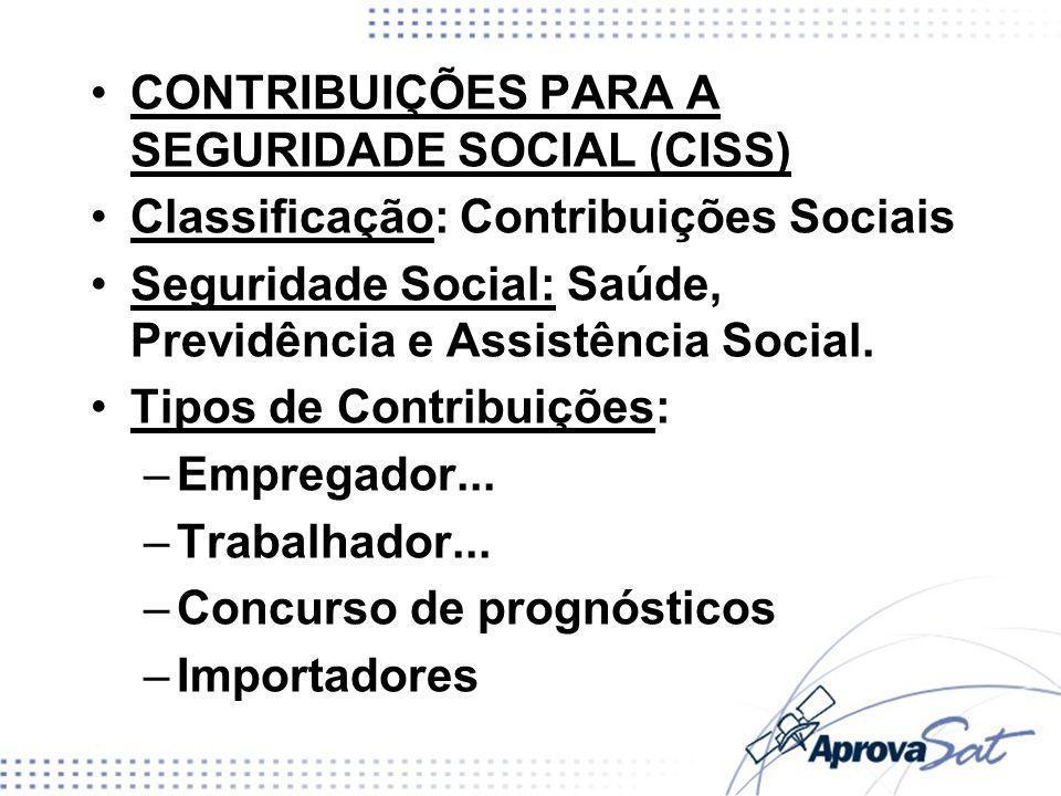 CONTRIBUIÇÕES PARA A SEGURIDADE SOCIAL (CISS)
