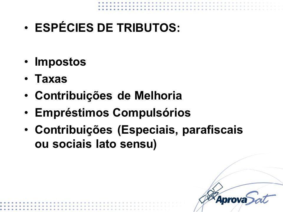 ESPÉCIES DE TRIBUTOS: Impostos. Taxas. Contribuições de Melhoria. Empréstimos Compulsórios.