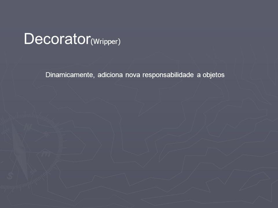Decorator(Wripper) Dinamicamente, adiciona nova responsabilidade a objetos