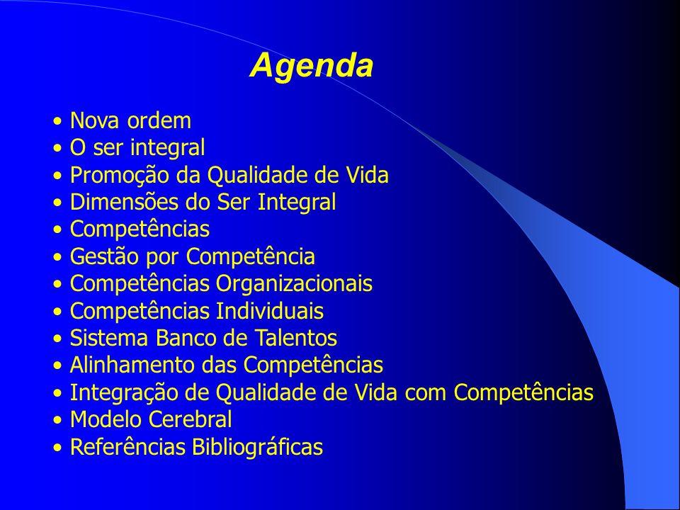 Agenda Nova ordem O ser integral Promoção da Qualidade de Vida