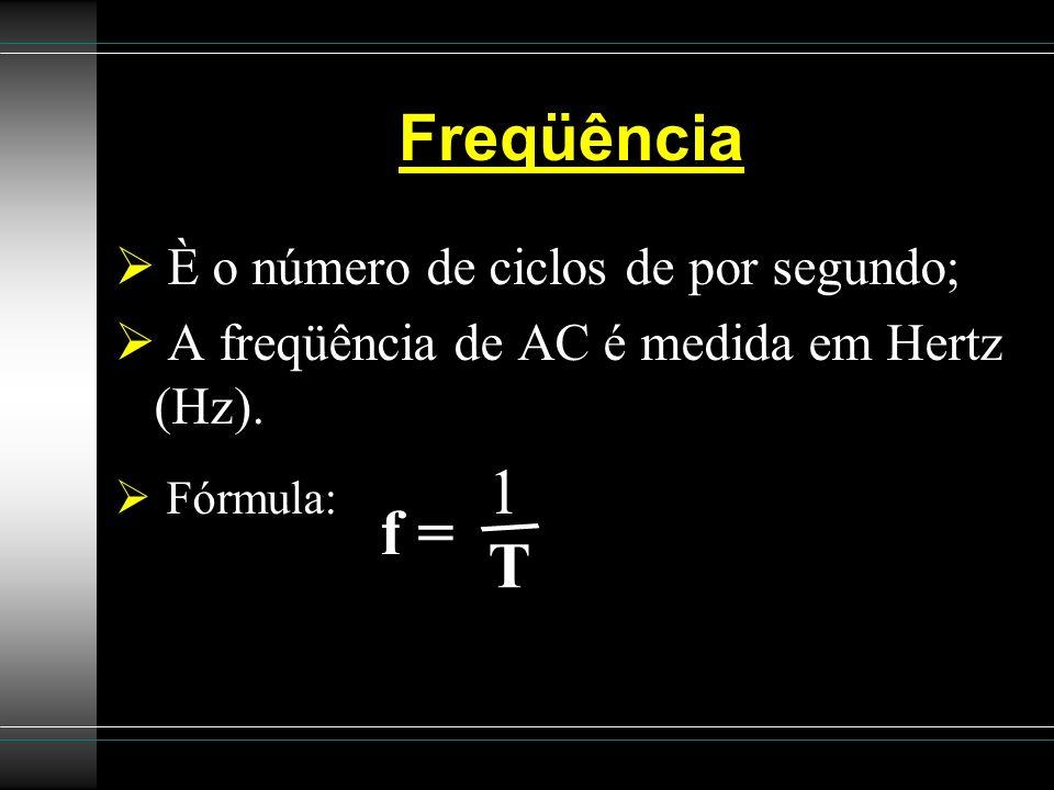 / Freqüência f = T È o número de ciclos de por segundo;