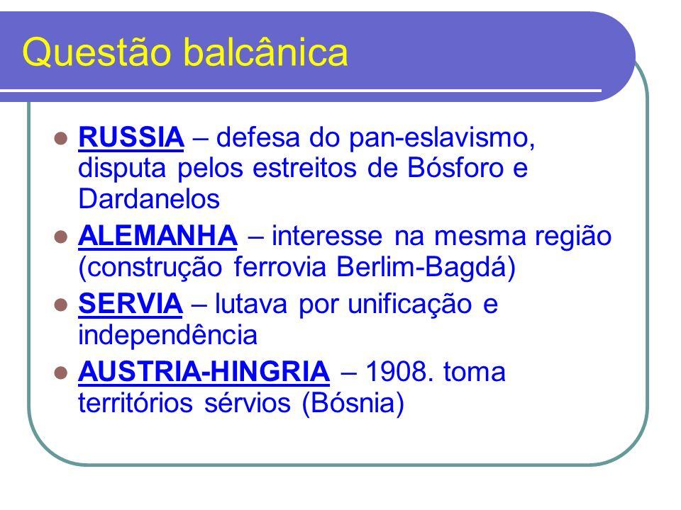 Questão balcânica RUSSIA – defesa do pan-eslavismo, disputa pelos estreitos de Bósforo e Dardanelos.