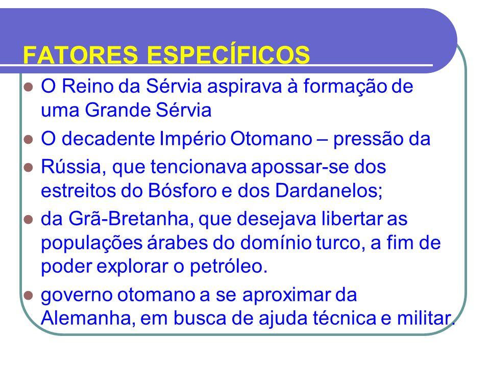 FATORES ESPECÍFICOS O Reino da Sérvia aspirava à formação de uma Grande Sérvia. O decadente Império Otomano – pressão da.