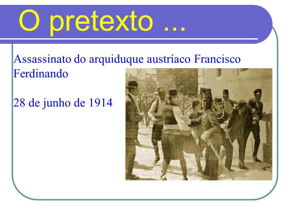 O pretexto ... Assassinato do arquiduque austríaco Francisco Ferdinando 28 de junho de 1914