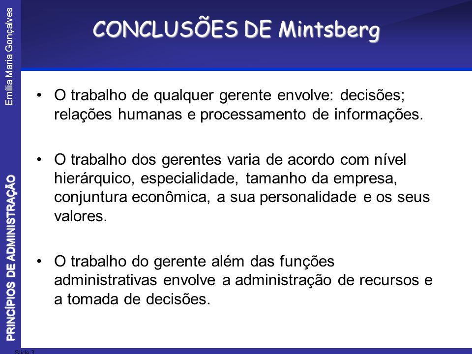 CONCLUSÕES DE Mintsberg