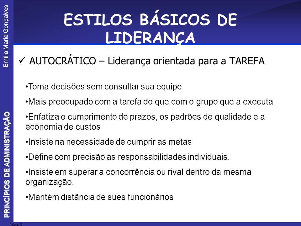 ESTILOS BÁSICOS DE LIDERANÇA