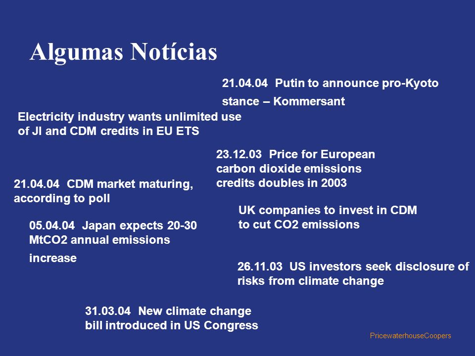 Algumas Notícias 21.04.04 Putin to announce pro-Kyoto stance – Kommersant. Electricity industry wants unlimited use of JI and CDM credits in EU ETS.