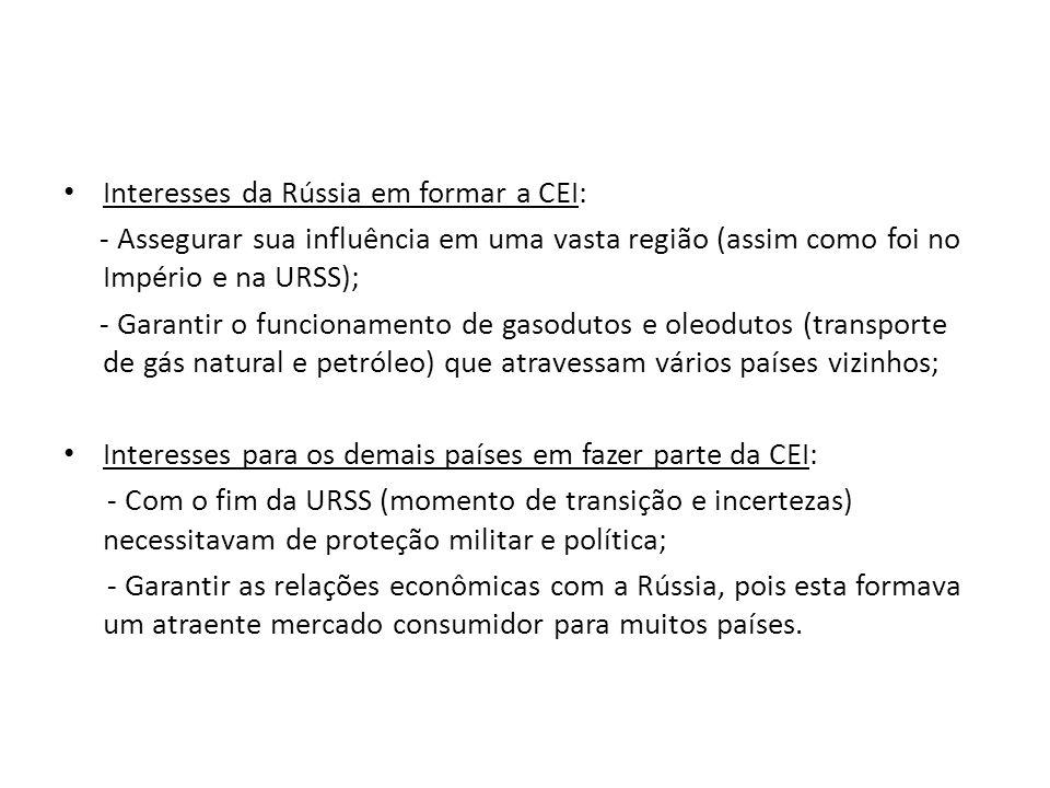Interesses da Rússia em formar a CEI: