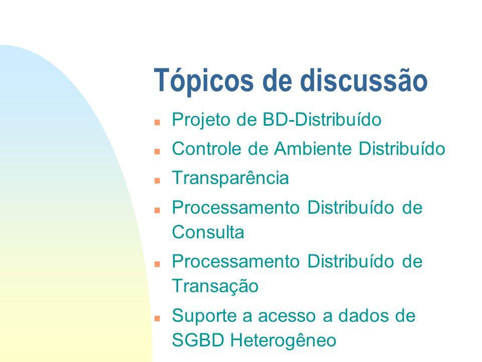 Tópicos de discussão Projeto de BD-Distribuído