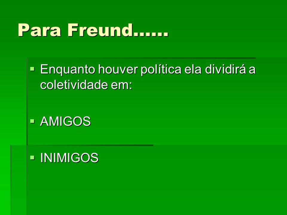 Para Freund...... Enquanto houver política ela dividirá a coletividade em: AMIGOS INIMIGOS
