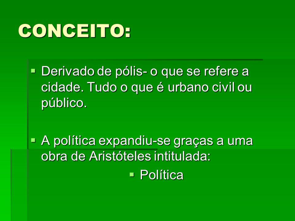 CONCEITO: Derivado de pólis- o que se refere a cidade. Tudo o que é urbano civil ou público.