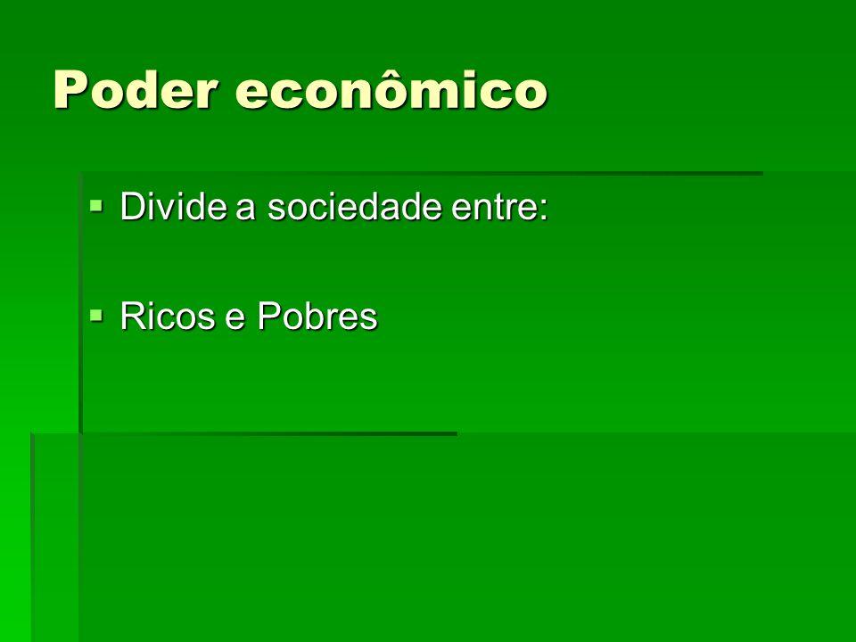 Poder econômico Divide a sociedade entre: Ricos e Pobres