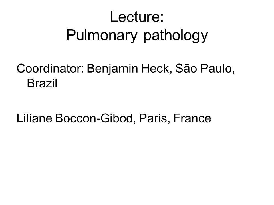 Lecture: Pulmonary pathology