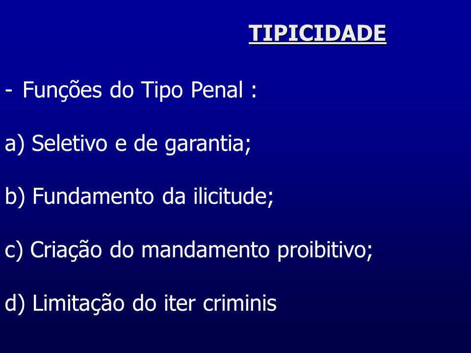 TIPICIDADEFunções do Tipo Penal : a) Seletivo e de garantia; b) Fundamento da ilicitude; c) Criação do mandamento proibitivo;