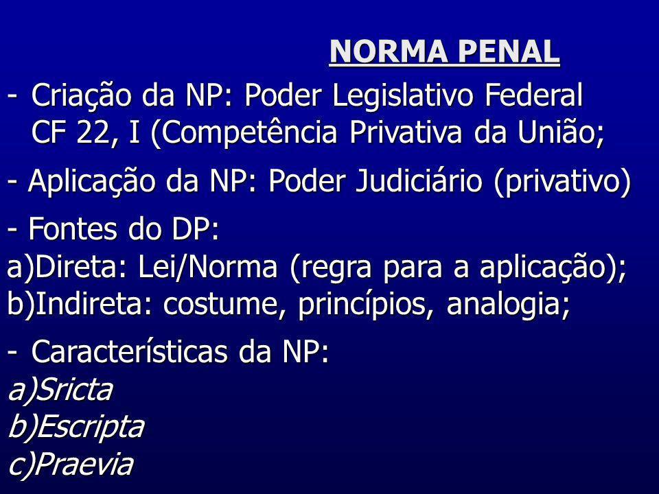 NORMA PENALCriação da NP: Poder Legislativo Federal. CF 22, I (Competência Privativa da União; - Aplicação da NP: Poder Judiciário (privativo)