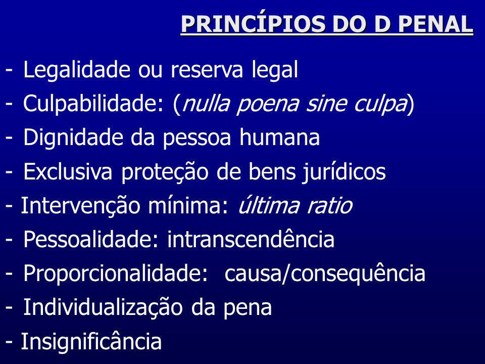 PRINCÍPIOS DO D PENALLegalidade ou reserva legal. Culpabilidade: (nulla poena sine culpa) Dignidade da pessoa humana.