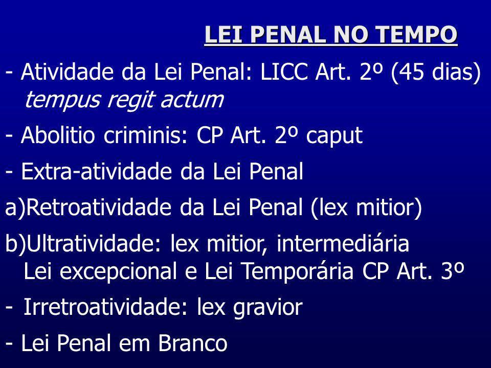 LEI PENAL NO TEMPO- Atividade da Lei Penal: LICC Art. 2º (45 dias) tempus regit actum. - Abolitio criminis: CP Art. 2º caput.