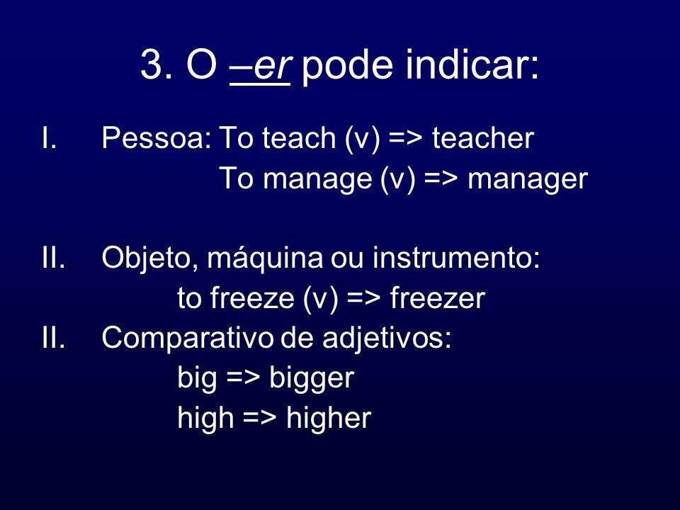3. O –er pode indicar: Pessoa: To teach (v) => teacher