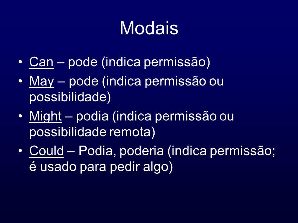 Modais Can – pode (indica permissão)