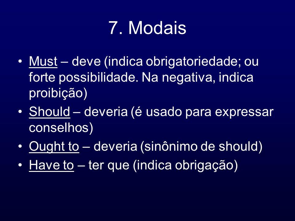 7. Modais Must – deve (indica obrigatoriedade; ou forte possibilidade. Na negativa, indica proibição)