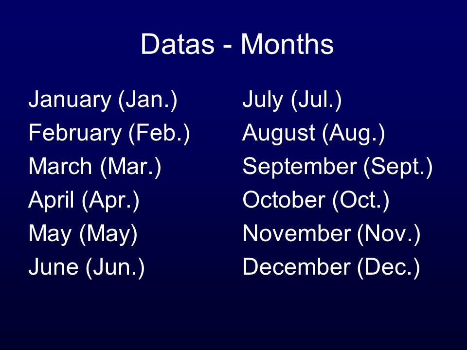 Datas - Months January (Jan.) February (Feb.) March (Mar.)