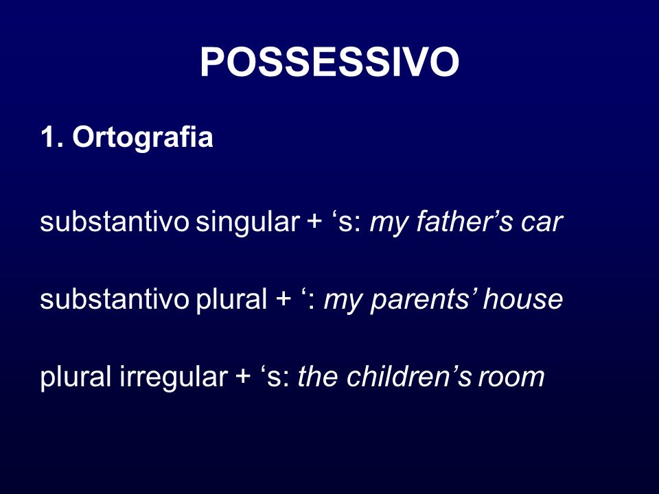 POSSESSIVO 1. Ortografia substantivo singular + 's: my father's car