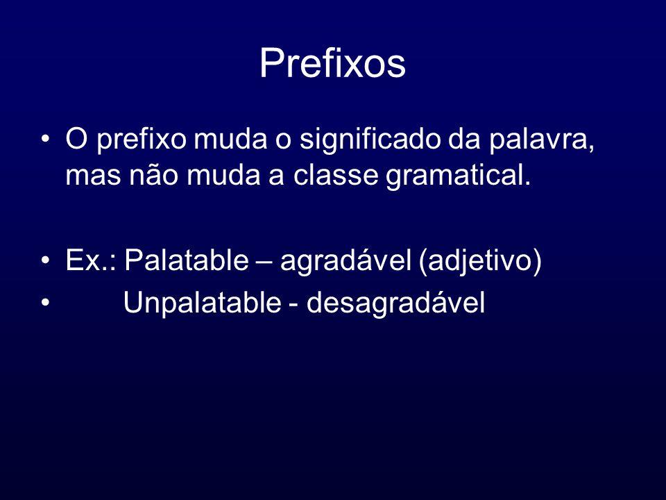PrefixosO prefixo muda o significado da palavra, mas não muda a classe gramatical. Ex.: Palatable – agradável (adjetivo)