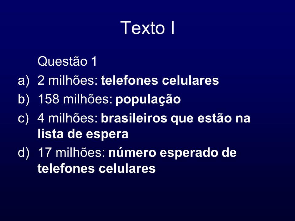 Texto I Questão 1 2 milhões: telefones celulares