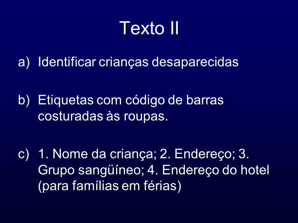 Texto II Identificar crianças desaparecidas