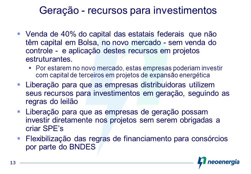 Geração - recursos para investimentos