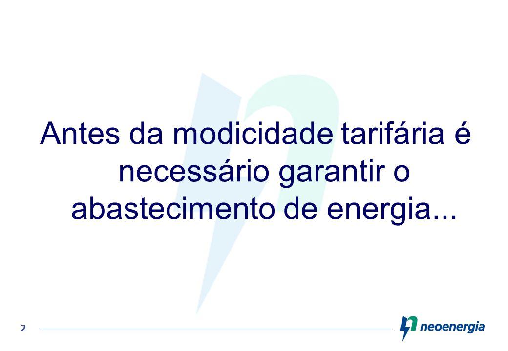 Antes da modicidade tarifária é necessário garantir o abastecimento de energia...