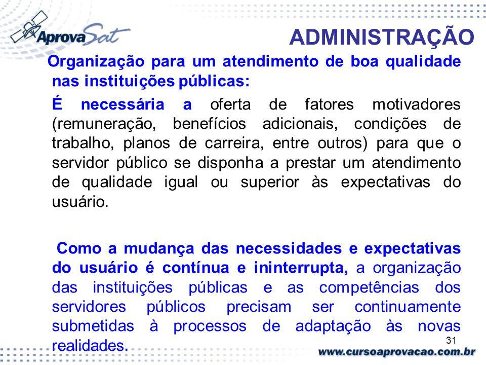 ADMINISTRAÇÃO Organização para um atendimento de boa qualidade nas instituições públicas: