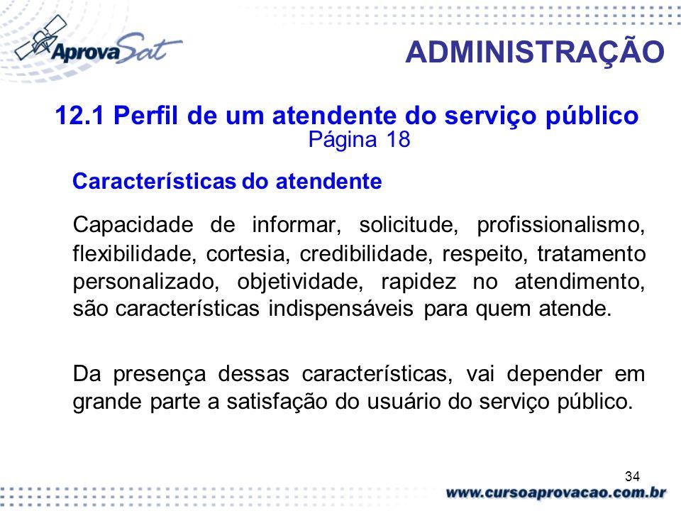 12.1 Perfil de um atendente do serviço público Página 18