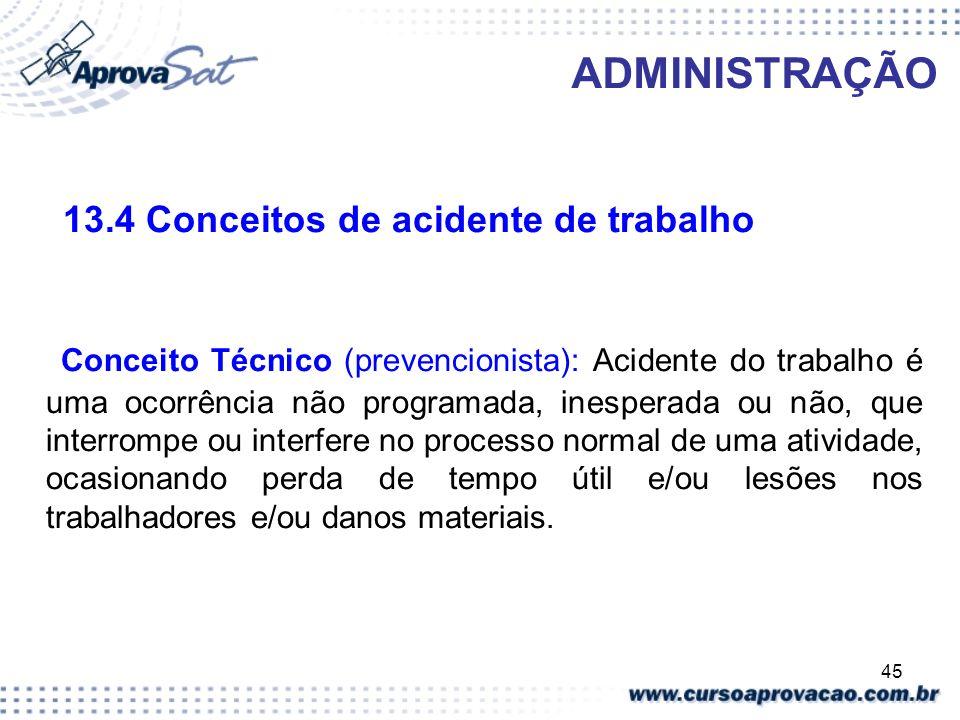 13.4 Conceitos de acidente de trabalho