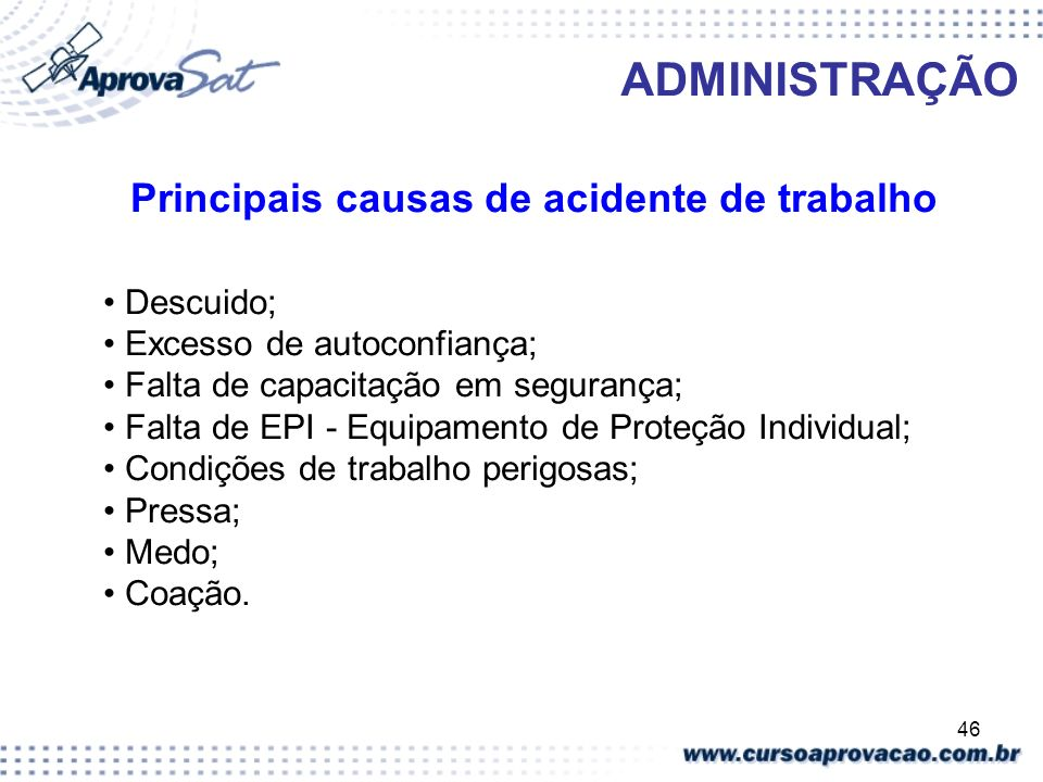Principais causas de acidente de trabalho