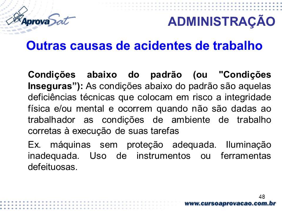 Outras causas de acidentes de trabalho