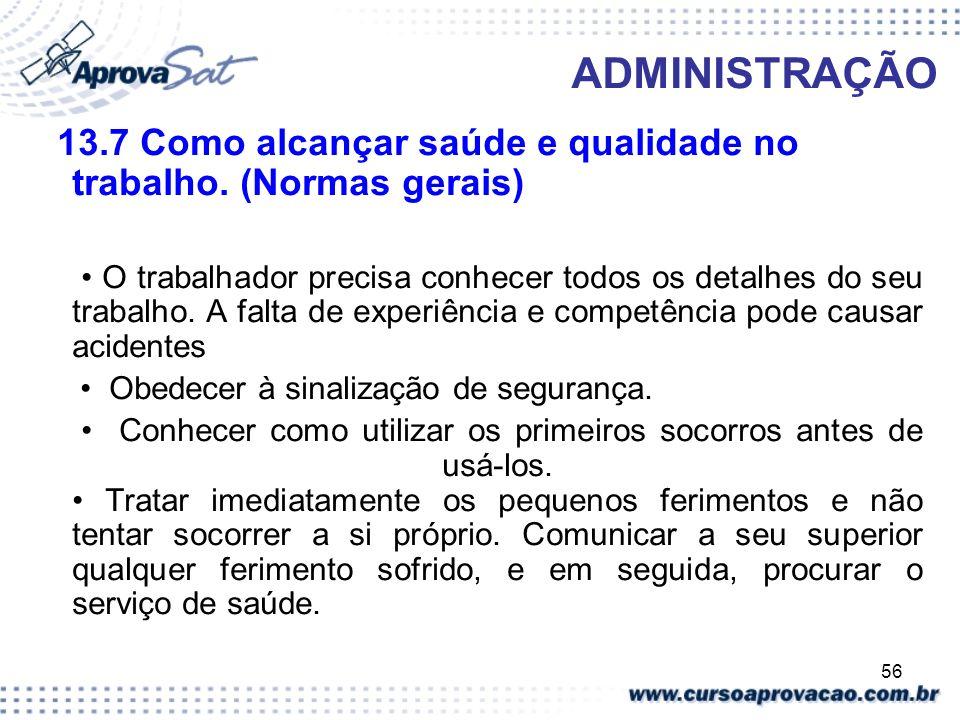 ADMINISTRAÇÃO 13.7 Como alcançar saúde e qualidade no trabalho. (Normas gerais)