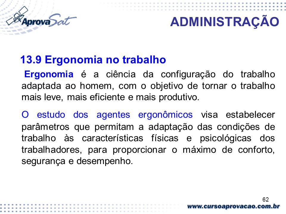 ADMINISTRAÇÃO13.9 Ergonomia no trabalho.