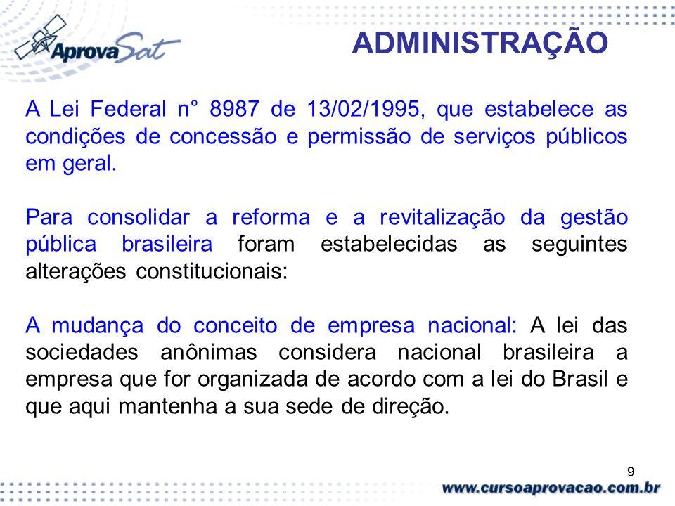 ADMINISTRAÇÃO A Lei Federal n° 8987 de 13/02/1995, que estabelece as condições de concessão e permissão de serviços públicos em geral.